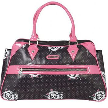 "Women's ""Skull in Poppy"" Hand Bag by Voodoo Vixen (Black/Pink)"