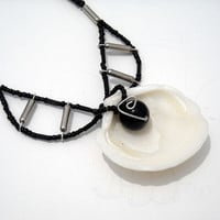 White Seashell necklace with Black glass beads by CraftyKikis