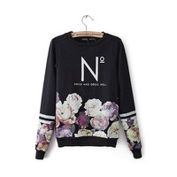 Women's Fashion Flowers 3d Printed Sweater Pullover (Size M)