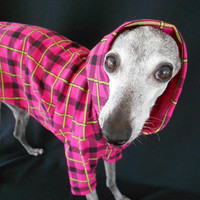 Neon Pink Plaid Summer Cotton Hoodie for Italian by hatz4brats