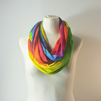THE GRATEFUL DEAD Infinity Scarf - Tie Dye Eternity Scarf - Rainbow Loop Scarf
