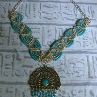 Egyptian beaded Necklace in teal silver by EgyptianInspirations