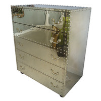 Palm Beach Antique and Design Center - Polished Brass Studded Chest of Drawers - 1stdibs