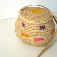 Handwoven South American Raffia Basket Bag
