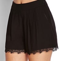 Pleated Lace Woven Shorts