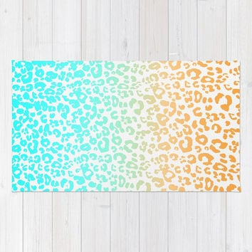 Neon Leopard Rug by Monika Strigel | Society6