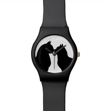 Black and white cat love watch Kiss