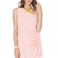 Elodia One Shoulder Dress in Pink - ShopSosie.com