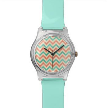 Modern chevron pattern watch coral mint