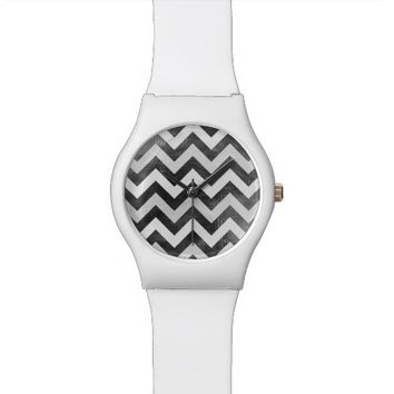 Modern chevron pattern watch black and white