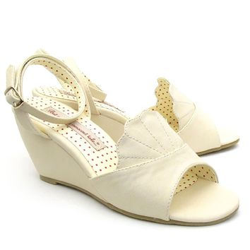 Cream Peep Toe Dezi Wedge Sandals