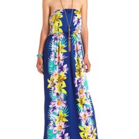 Hawaiian Print Strapless Maxi Dress