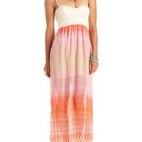 Crochet & Chiffon Bustier Maxi Dress