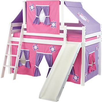 Pink Cottage White Loft Bed w Slide