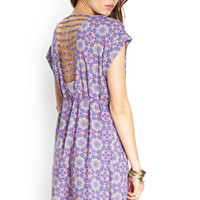 Medallion Print Ladder-Back Dress