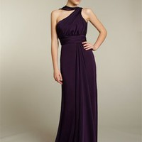 Chic Empire One Shoulder Chiffon Bridesmaid Dresses Bridal Party Dress With Waist Band