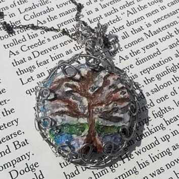 Winter Landscape - Silver Necklace - Snow - Hippie - Acrylic Paint Tree - Resin Glazed - Woodland Scene -Polymer Clay Sculpted -Wire Jewelry