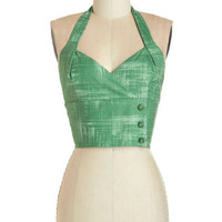 Bea & Dot Pinup Short Halter Cropped Grass is Greenest Top