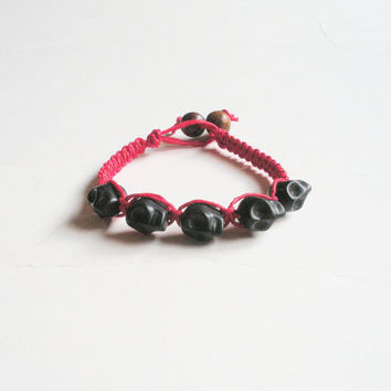 Red Hemp Bracelet with Black Skull Beads, ready to ship.