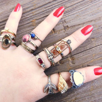 Huge Lot of Vintage Rings  Cocktail Adjustable by MaejeanVINTAGE
