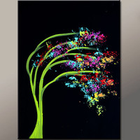 Abstract Canvas Art Painting 18x24 Original Contemporary Modern Landscape Tree Paintings  by Destiny Womack - dWo - In The Dark