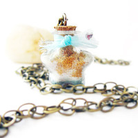 Tiny Star bottle Necklace with Mica power and blue by ThekawaiiOD