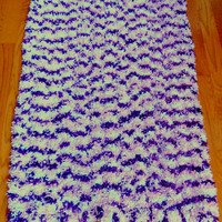 Berries and Cream Shaggy Crocheted Throw Rug