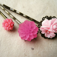 Popping Pink Flower Hair Pins by PiggleAndPop
