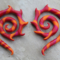 Fire Dancer Gauge and Fake Gauge Earrings by SwirlyGirlyGoddess
