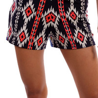 Navy/Orange Aztec Print Shorts