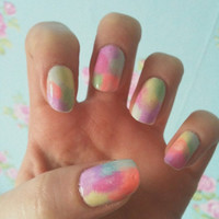 False nail set - pastel, tie die, galaxy nail art, hand painted fake nails
