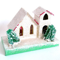 Vintage Putz White Church, Christmas Ornament, Circa 1950, Cardboard, Japan Holiday Decor Collectible (WB4)