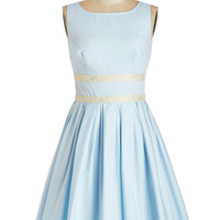 ModCloth Vintage Inspired Mid-length Sleeveless Fit & Flare Convivial Pursuit Dress in Powder Blue
