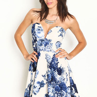 FLORAL PLUNGE SWEETHEART DRESS