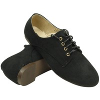 Womens Flats Oxford Lace Up Casual Comfort Shoes Suede Sz 5.5-10 Black