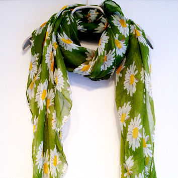 White Daisy Light Green Spring Scarf Summer Scarf