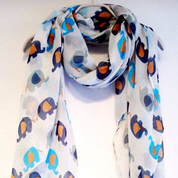 Elephant Off White Spring Scarf Summer Scarf