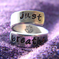 just breathe lotus  inside spiral ring