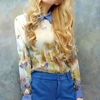 Bird Semi-sheer Chiffon Blouse