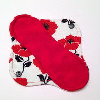 "8"" Poppy Flannel Cloth Panty Liner - Mama Cloth"
