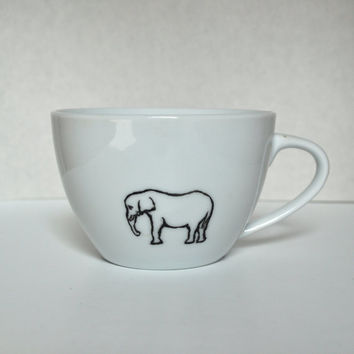 Elephant black and white Coffee or Tea Cup mug One by heatherloneil