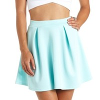 Pleated High-Waisted Skater Skirt by Charlotte Russe - Mint