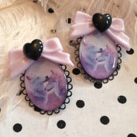 Lilac Wolf Cameo Earrings