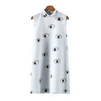 EYES PRINT SLEEVELESS DRESS / back order