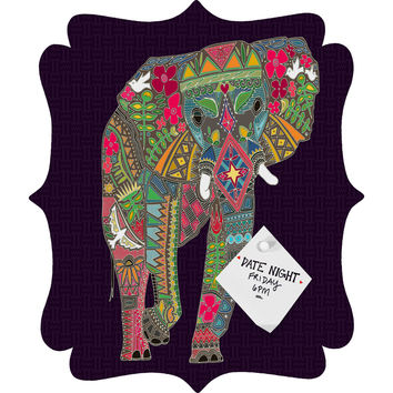 Sharon Turner Painted Elephant Purple Quatrefoil Magnet Board