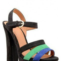 MULTI COLOR STRAP WEDGE SANDAL