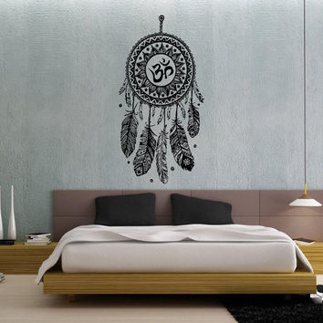 Dream Catcher Dreamcatcher Feathers Hindu Om Symbol Wall Decal Vinyl Sticker Decals Bedroom Home Wall Art Decor Wall Decals V994