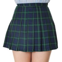 Plaid High Waist Pleated Mini Schoolgirl Skirt