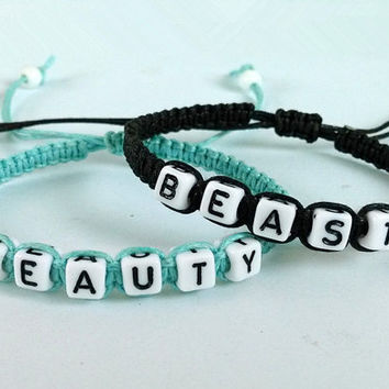 Beauty beast Bracelet,Couples bracelet,lovers bracelet,Personalized Jewelry , Anniversary Gifts, Bridesmaid Bracelet