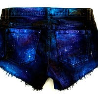 Made to Order Galaxy Hand Painted Custom Cut Shorts